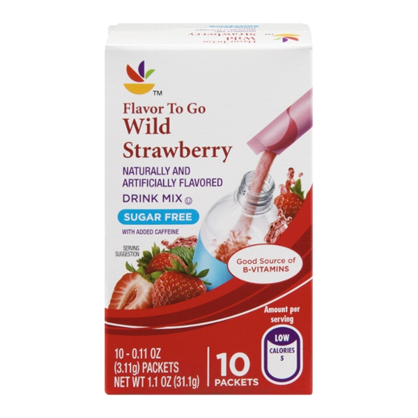 Stop & Shop Flavor To Go Drink Mix Wild Strawberry Sugar Free - 10 ct