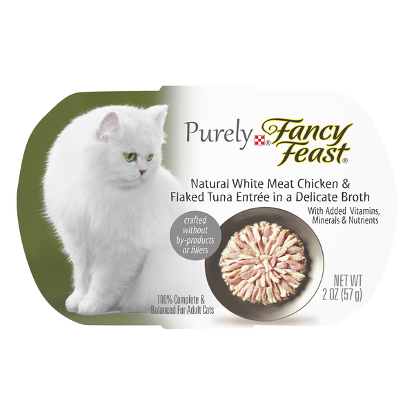 Purely Fancy Feast Adult Wet Cat Food Natural Chicken/Flaked Tuna in Broth