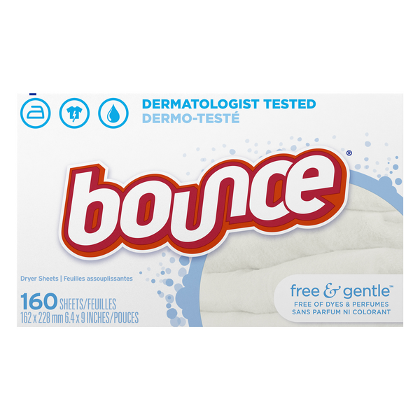 Bounce Dryer Sheets Free & Gentle