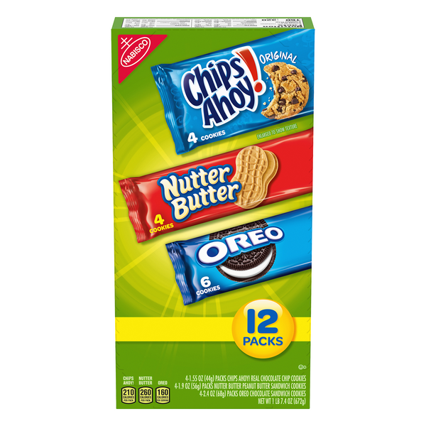 Nabisco Cookies Chips Ahoy!, Nutter Butter, Oreo Variety Pack - 12 ct