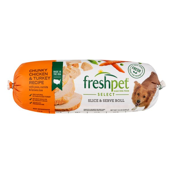 Freshpet Select Refrigerated Dog Food Chunky Chicken/Turkey Slice & Serve