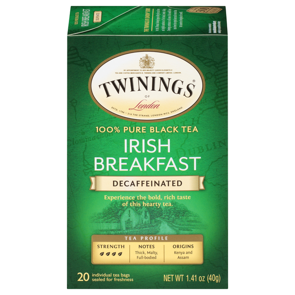 Twinings of London Irish Breakfast Black Tea Bags Decaffeinated