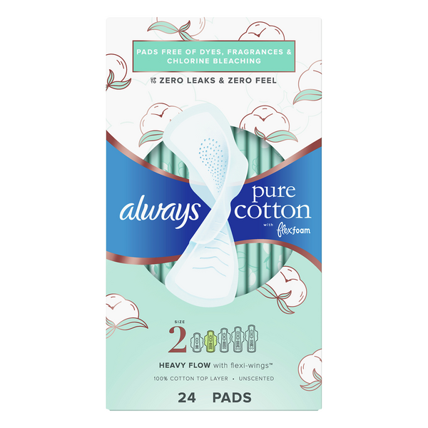 Always Pure Cotton with Flex Foam Pads Unscented Size 2