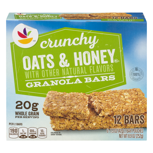 Giant Crunchy Granola Bars Oats & Honey 100% Natural - 12 ct