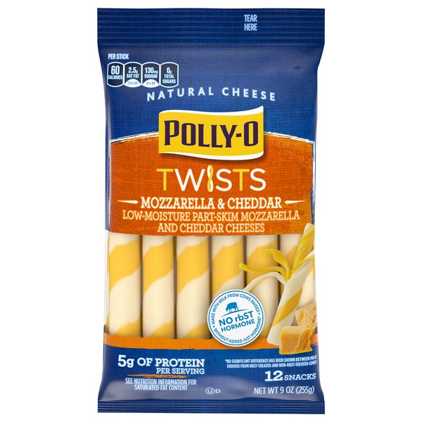 Polly-O Twists String Cheese Mozzarella and Cheddar - 12 ct