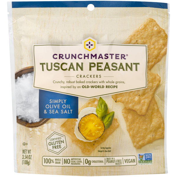 Crunchmaster Tuscan Peasant Crackers Simply Olive Oil & Salt Gluten Free