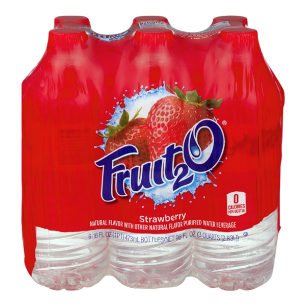 Fruit2O Flavored Water Beverage Strawberry - 6 pk