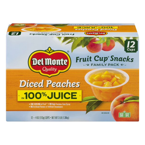Del Monte Fruit Cups Peaches Diced in Juice Family Pack - 12 ct