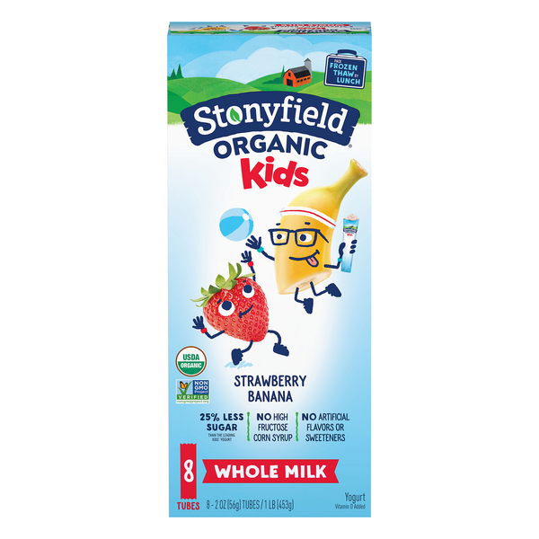 Stonyfield YoKids Squeezers Whole Milk Yogurt Strawberry Banana - 8 ct