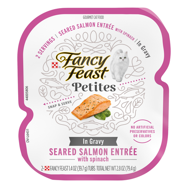 Fancy Feast Petites Pate Wet Cat Food Seared Salmon w/Gravy/Spinach - 2 ct