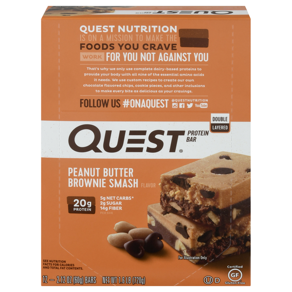 Quest Protein Bar Peanut Butter Brownie Smash - 12 ct
