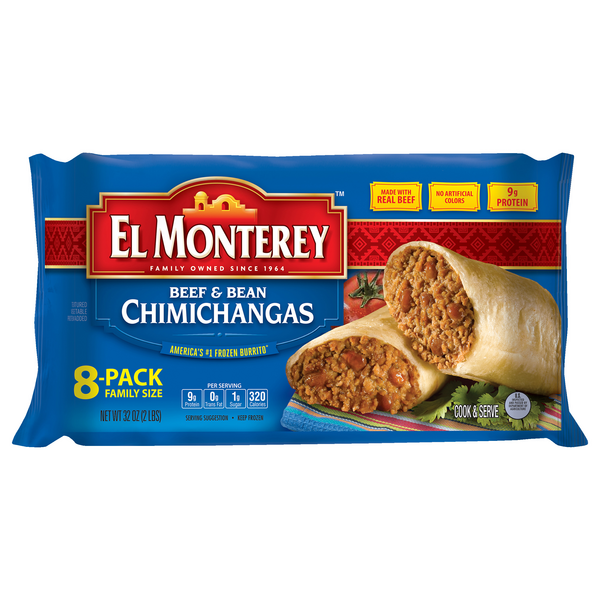 El Monterey Chimichangas Beef & Bean Family Pack - 8 ct