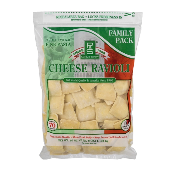 P&S Ravioli Co. Fine Pasta Ravioli Cheese All Natural - apx 70 ct Frozen