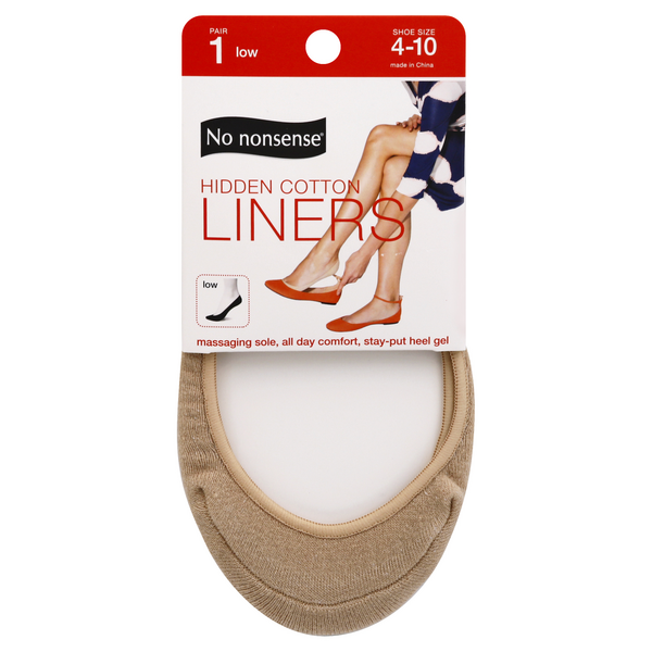 No Nonsense Shoe Liner Tan Cotton Hidden Size 4-11