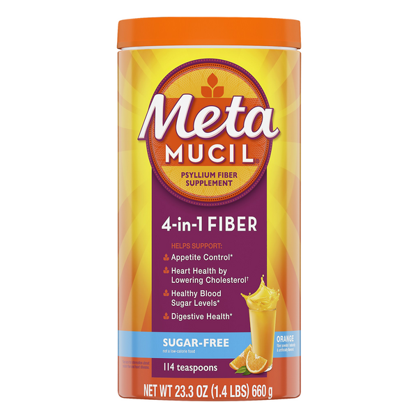Metamucil 4-in-1 Psyllium Fiber Supplement Powder Orange Sugar Free