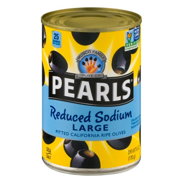 Pearls Ripe Black Olives Reduced Sodium Large Pitted