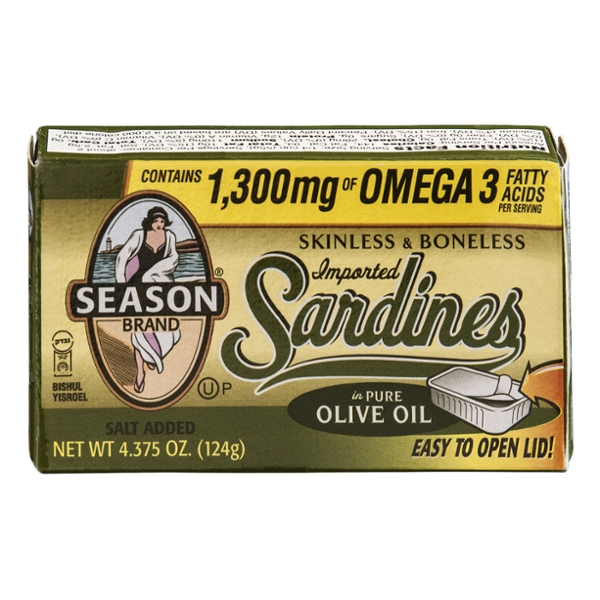 Season Sardines Imported Boneless Skinless in Pure Olive Oil Salt Added