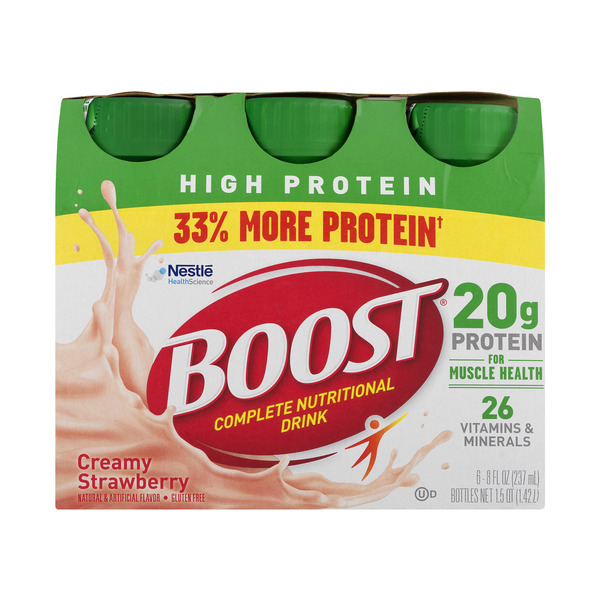 BOOST High Protein Complete Nutritional Drink Creamy Strawberry - 6 pk