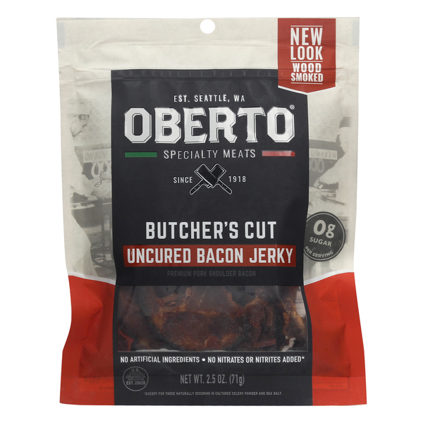 Oberto Butcher's Cut Uncured Bacon Jerky Wood Smoked