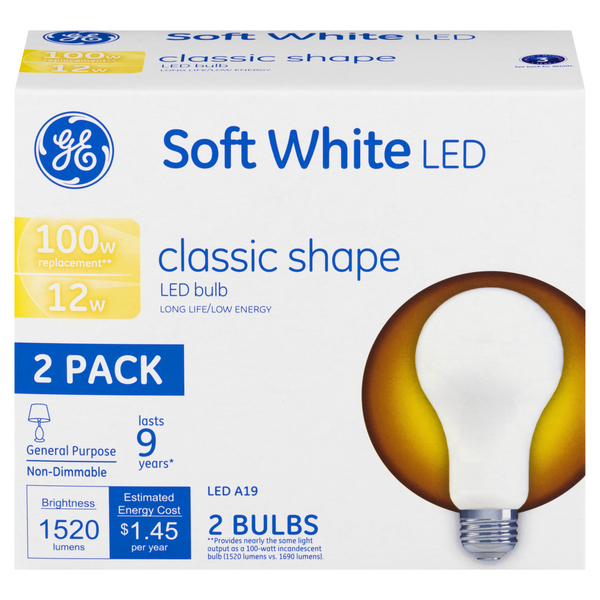 GE Soft White LED 12 Watts Light Bulbs Classic Shape