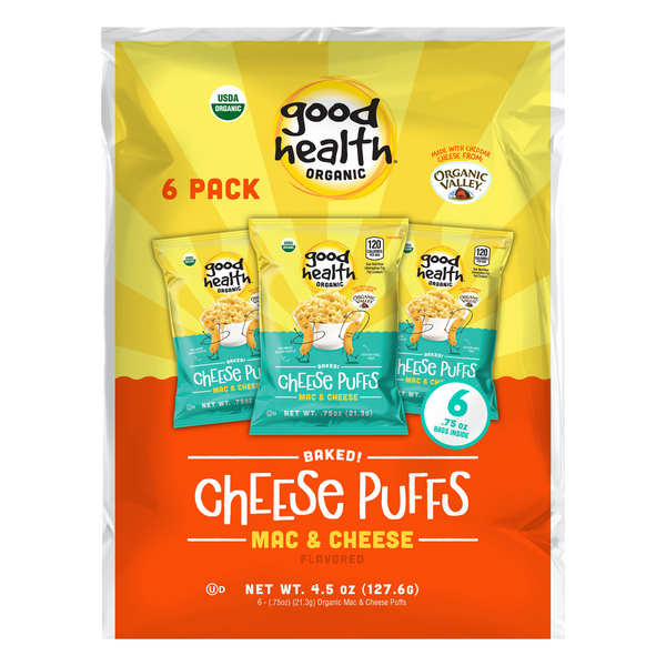 Good Health Baked Cheese Puffs Mac & Cheese Flavored Organic - 6 ct