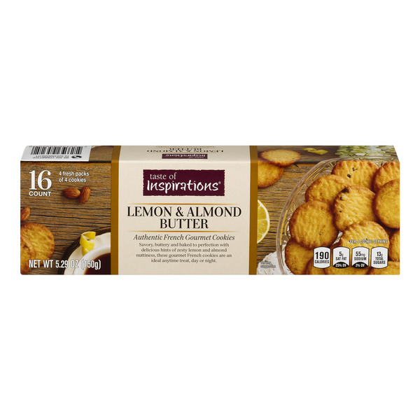 Taste of Inspirations French Gourmet Cookies Lemon & Almond Butter - 16 ct