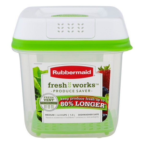 Rubbermaid Fresh Works Produce Saver Medium Container & Lid 1.5 Liter