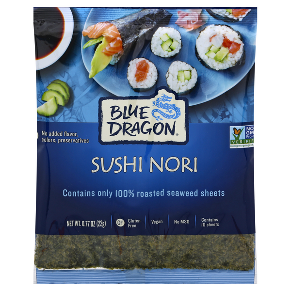 Blue Dragon Sushi Nori Roasted Seaweed Sheets - 10 ct