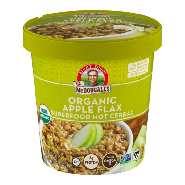 Dr. McDougall's Superfood Hot Cereal Cup Apple Flax Gluten Free Organic