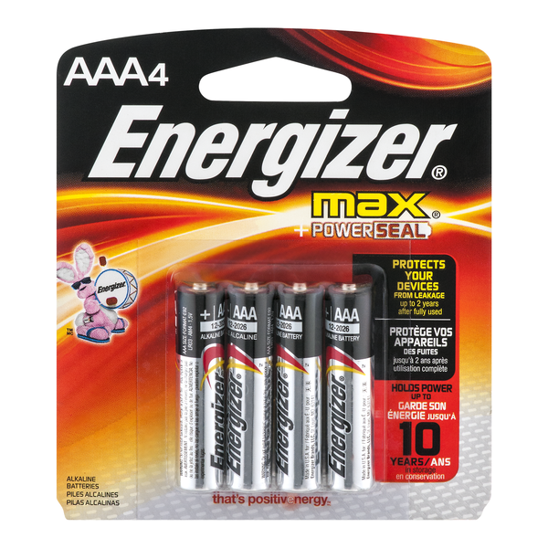 Energizer Max + Powerseal Batteries Size AAA