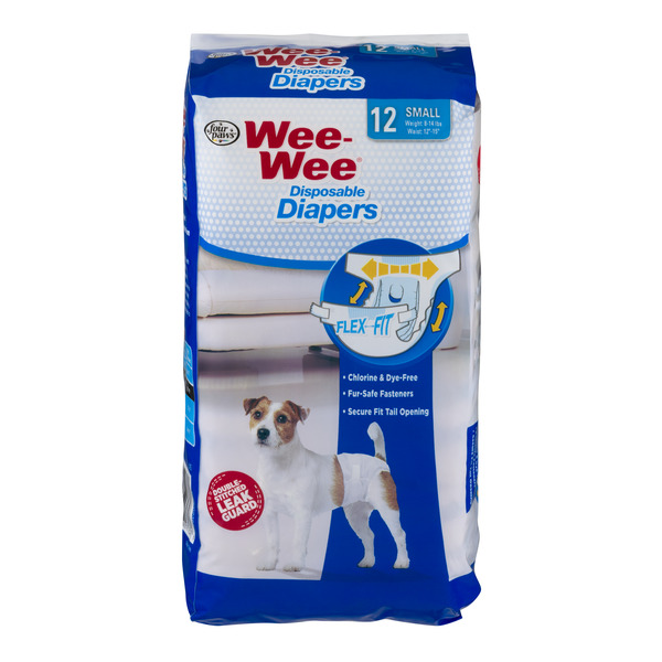 Four Paws Wee-Wee Doggie Diapers Small Disposable 8-14 lbs