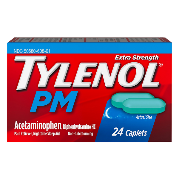 Tylenol PM Pain Relief Nighttime Sleep Aid Extra Strength 500 mg Caplets