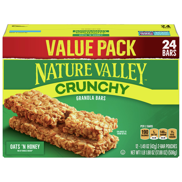 Nature Valley Crunchy Granola Bars Oats 'N Honey - 24 ct