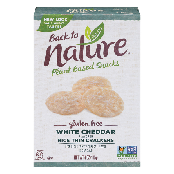 Back to Nature Rice Thin Crackers White Cheddar Gluten Free