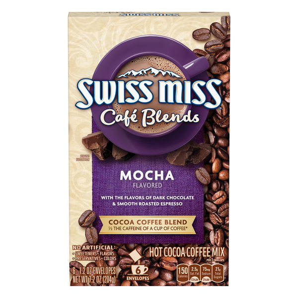 Swiss Miss Cafe Blends Hot Cocoa Coffee Mix Mocha Flavored - 6 ct