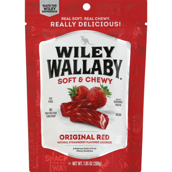 Wiley Wallaby Soft & Chewy Liquorice Original Red Strawberry