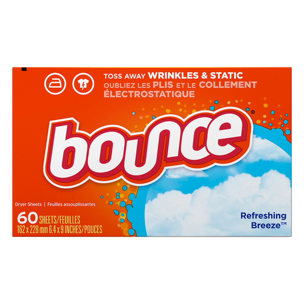 Bounce Fabric Softener Dryer Sheets Refreshing Breeze