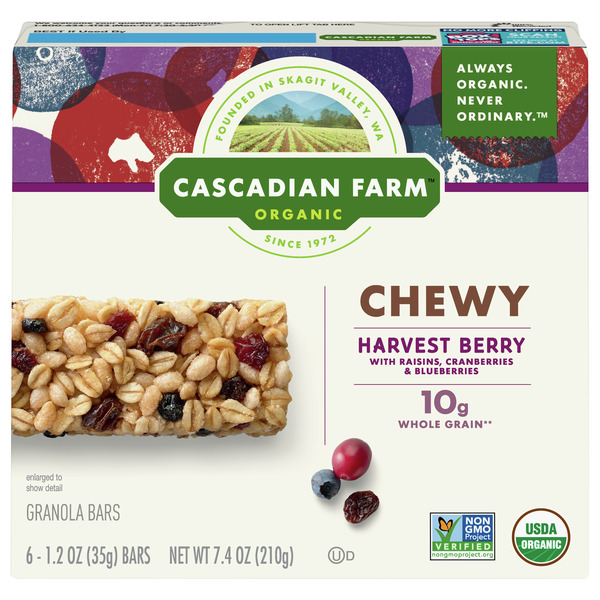 Cascadian Farm Organic Chewy Granola Bars Harvest Berry - 6 ct