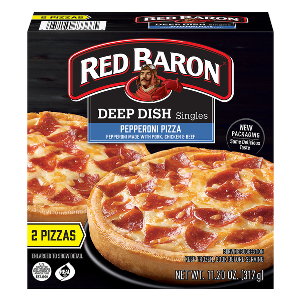 Red Baron Singles Deep Dish Pizza Pepperoni - 2 ct