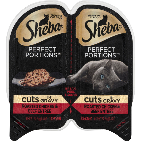 Sheba Perfect Portions Wet Cat Food Cuts In Gravy Roast Chicken & Beef 2ct