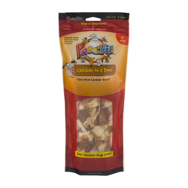 Poochie Chicken On A Bone Rawhide Treat Medium-Large Dog