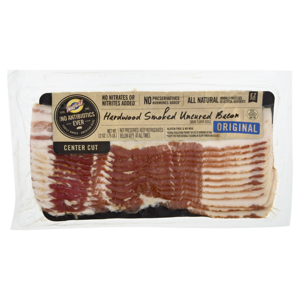 Hatfield Hardwood Smoked Uncured Bacon Center Cut Original