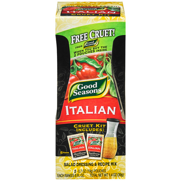 Good Seasons Italian Cruet Kit - 2 Italian Dressing Mixes & Cruet