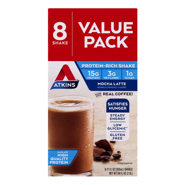 Atkins Protein-Rich Shake Mocha Latte Value Pack - 8 pk