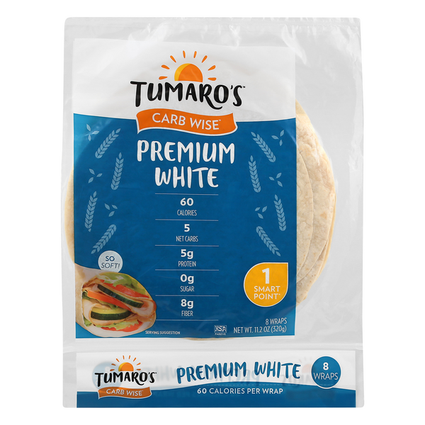 Tumaro's Carb Wise Premium White Wraps - 8 ct