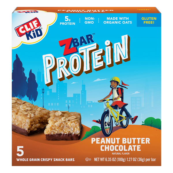 Clif Kid Zbar Protein Snack Peanut Butter Chocolate Organic - 5 ct