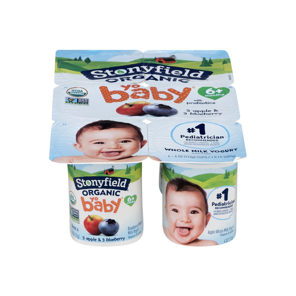 Stonyfield YoBaby Whole Milk Yogurt Blueberry & Apple Organic - 6 ct