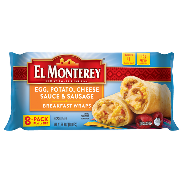 El Monterey Breakfast Wraps Egg, Potato, Cheese Sauce & Sausage - 8 ct