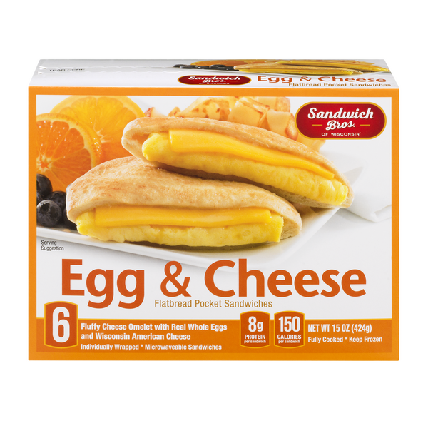Sandwich Bros.of Wisconsin Flatbread Pocket Sandwiches Egg/Cheese - 6 ct