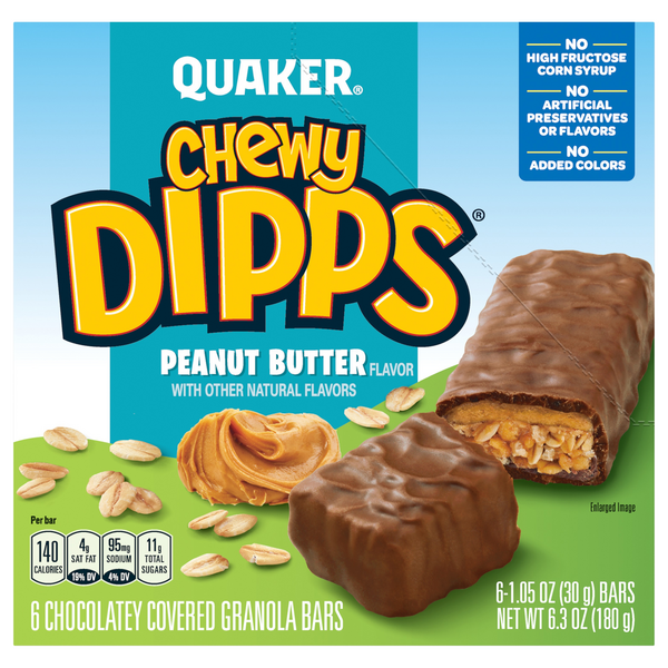 Quaker Chewy Dipps Granola Bars Peanut Butter - 6 ct